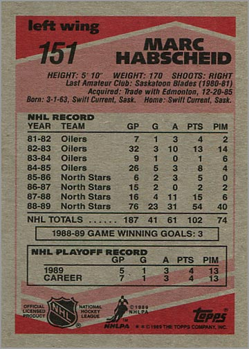 1989-90 Topps #151 - Mark Habscheid