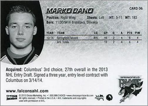 2014-15 Springfield Falcons #6 - Marko Dano (back)