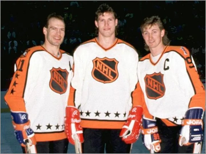 Bob Probert (center), played in the 1988 NHL All-Star Game.