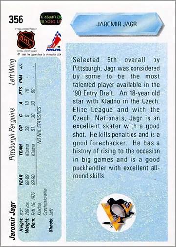 1990-91_Upper_Deck_356_Jaromir_Jagr_back