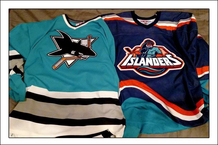 Original San Jose Sharks jersey and New York Islanders Fish Sticks Jersey