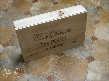 Wooden wine box appropriated by my sister from her place of work