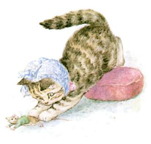 Miss Moppet catches a mouse