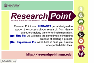Front of a postcard advertising the ResearchPoint website. Made in Photoshop & Illustrator