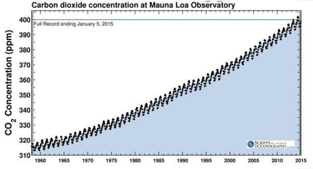 Aumento de la concentración de CO2 en la atmósfera - Mauna Loa