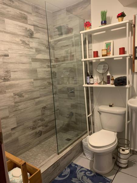 Newly renovated bathroom (shower/no tub)