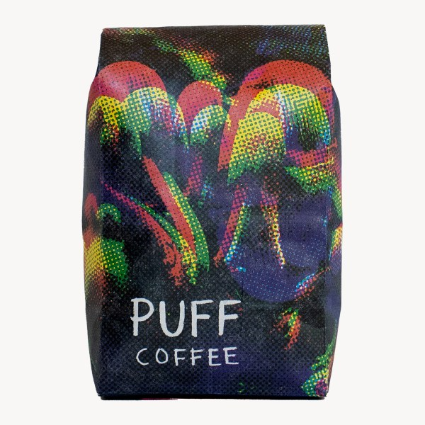 Coffee bag with shrooms
