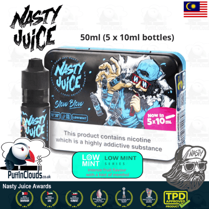 Nasty Juice Slow Blow E-Liquid (Low Mint) - Pineapple Lemonade with a hint of mint eJuice available at Puffin Clouds UK - https://puffinclouds.co.uk