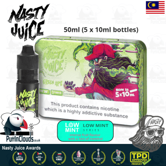 Nasty Juice Green Ape E-Liquid (Yummy Fruity Series) - Apple eJuice with just a hint of mint