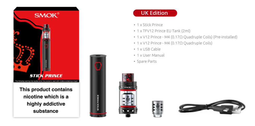 SMOK Stick Prince UK Edition - What's Included - Puffin Clouds UK