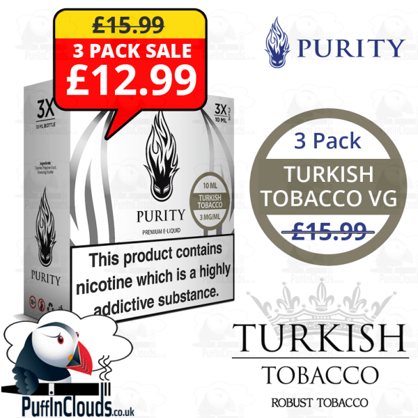 Purity Turkish Tobacco High VG - 3 Pack | Puffin Clouds UK