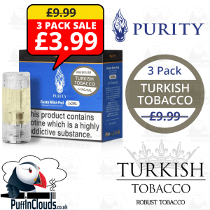 Purity Turkish Tobacco Gusto Mini Pods (3 x 2ml) | Puffin Clouds UK