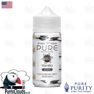 P.U.R.E Vanilla Shake n Vape E-Liquid (50ml 0mg)   Puffin Clouds UK