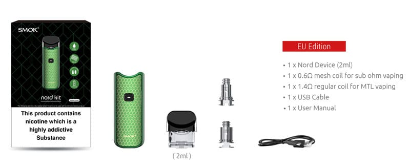 SMOK Nord Pod Kit (UK Edition) - Contents    Puffin Clouds UK