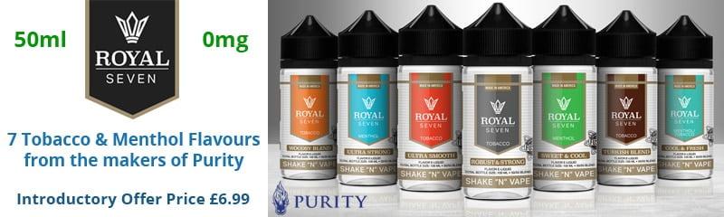 Royal Seven Shake 'n' Vape Tobacco & Menthol E-Liquids   Puffin Clouds UK