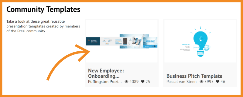 puffingston's onboarding template featured on prezi explore page, Presentation templates