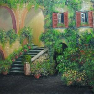 картина итальянский дворик