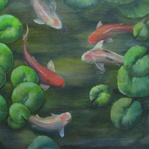 картина рыбки кои