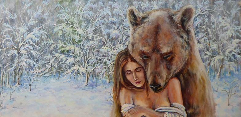 девушку обнимает медведь картинка