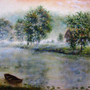 Туманное утро картина маслом