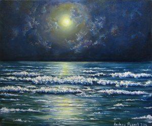 картина ночное море на выставке