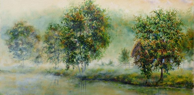 как рисовать туман масляными красками