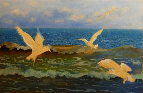 Seagulls oil underpainting
