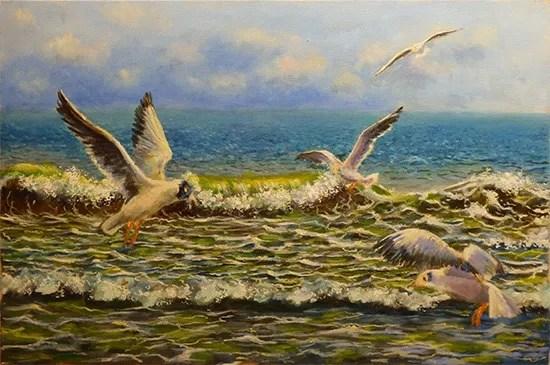 как рисовать море с чайками