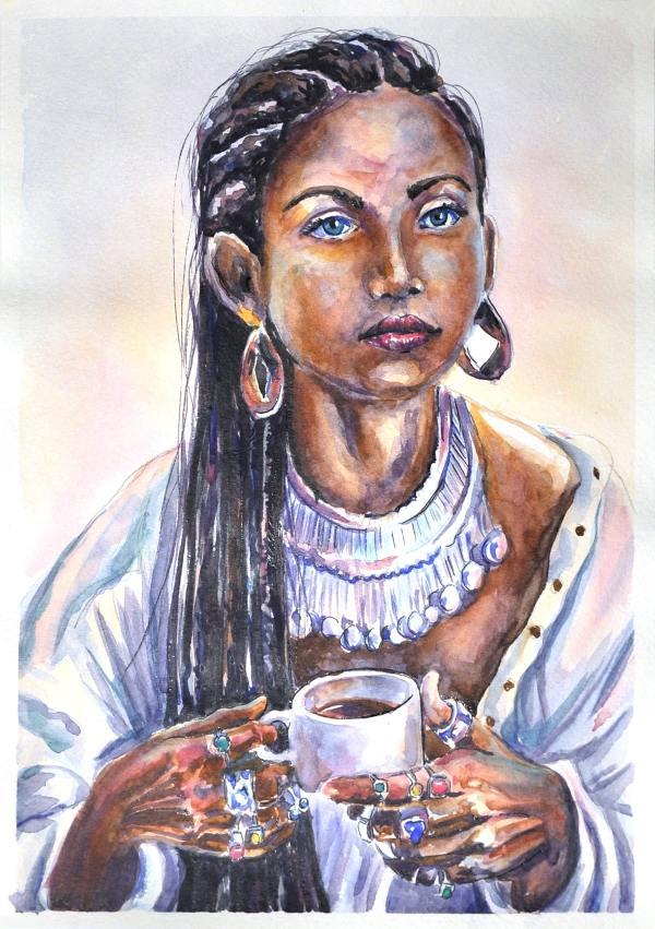 Акварельный портрет Амака