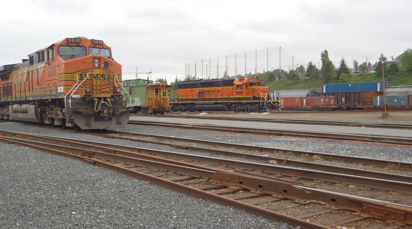Trains in BNSF's Balmer Yard facility.