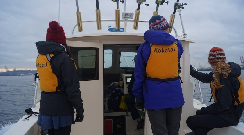 Volunteers aboard the Soundkeeper patrol boat in winter.