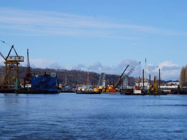 A view of the Duwamish River from the water on a sunny day.