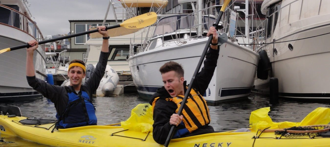 Kayakers on the water during a volunteer patrol.