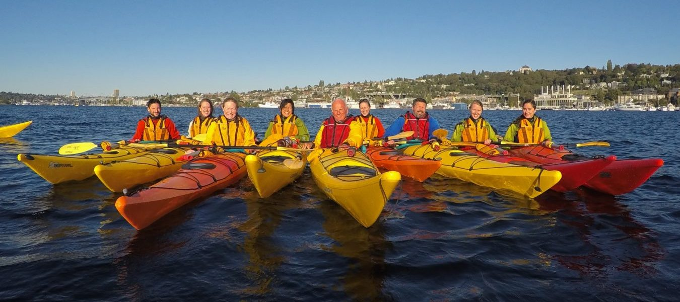 Soundkeeper staff on the water in kayaks during a safety training.