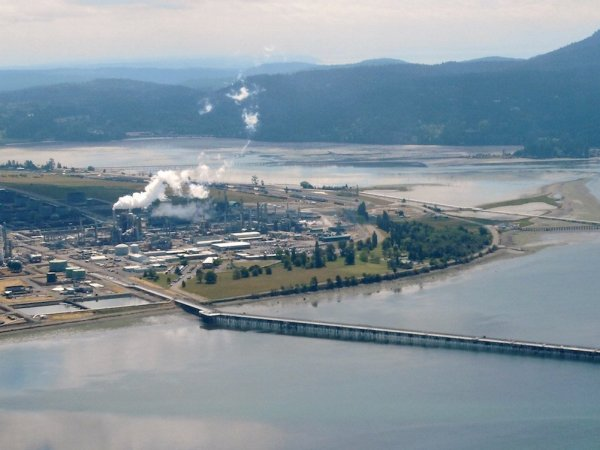 An aerial photo of the Tesoro oil refinery in Anacortes.