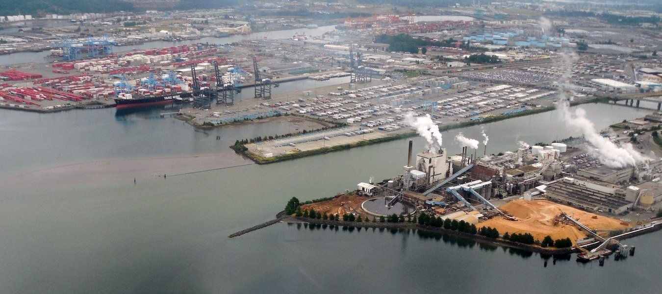 An aerial view of the Port of Tacoma.