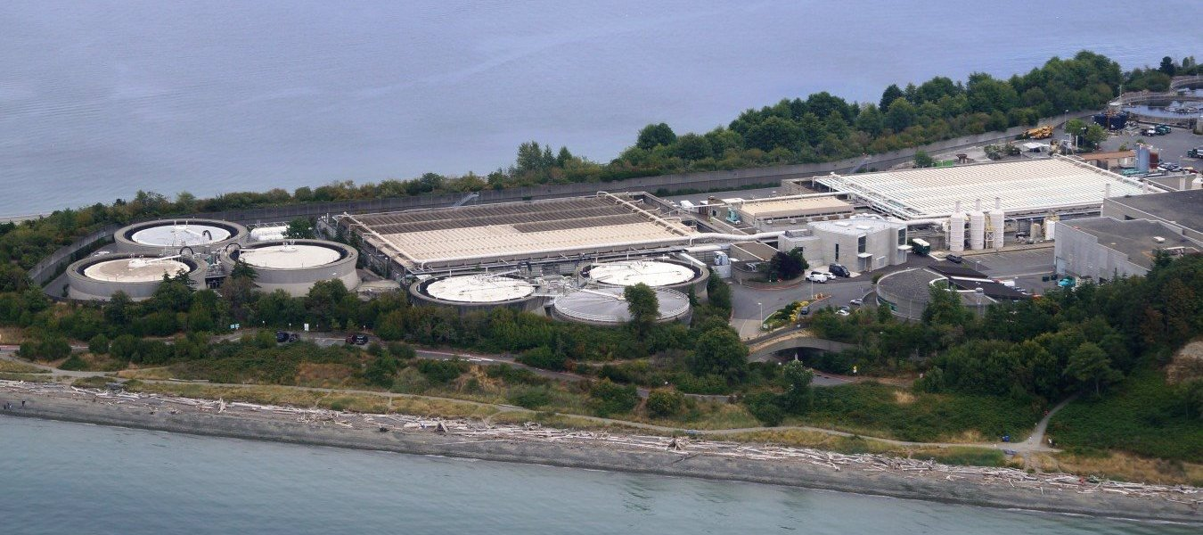 Aerial view of King County's West Point wastewater treatment plant.