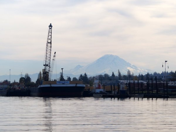 Mount Rainier is visible above the Duwamish River.