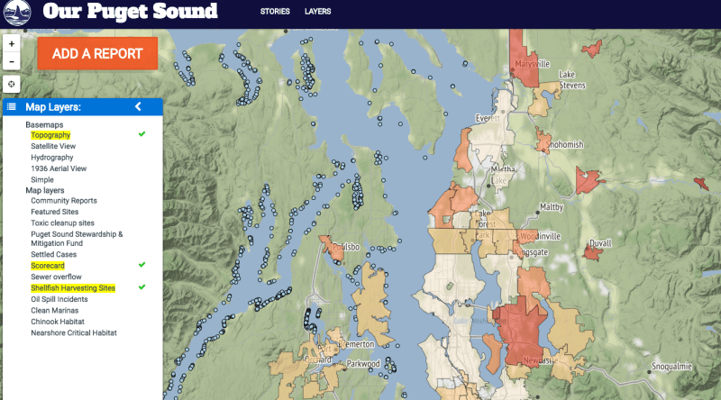 A screenshot of a map of Puget Sound, with certain areas shaded in different colors and small blue dots marking points on the map.