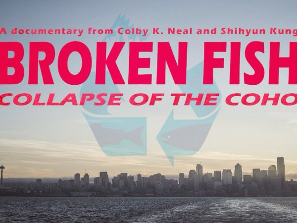 "The bold title ""Broken Fish: Collapse of the Coho"" appears in red over an image of the Seattle skyline and Elliott Bay."