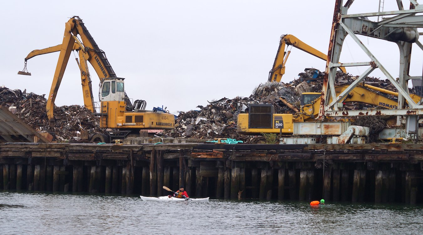 A kayaker and a swimmer in the Duwamish River, in front of the Seattle Iron and Metals facility. Two large pieces of machinery sit on top of a wooden dock with piles of scrap metal.