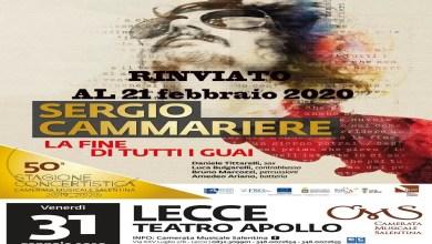 """Photo of [EVENTO RINVIATO] SERGIO CAMMARIERE in concerto per il suo ultimo album  """"La fine di tutti i guai""""@ """"Teatro Apollo"""" Lecce – 21 febbraio 2020"""