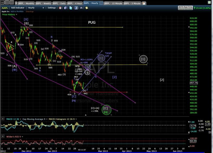 PUG AAPL 60-min chart EOD 2-5-13