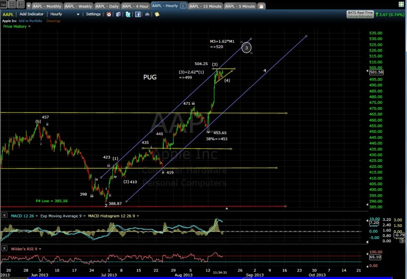 PUG AAPL 60-min chart MD 8-16-13