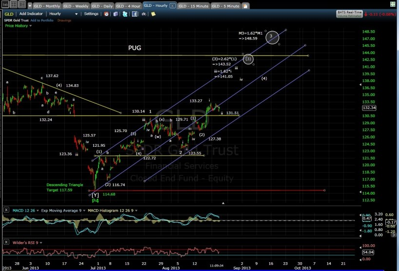 PUG GLD 60-min chart MD 8-21-13