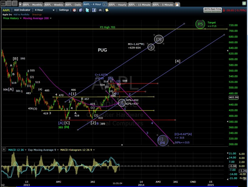 PUG AAPL 4-hr chart MD 9-11-13