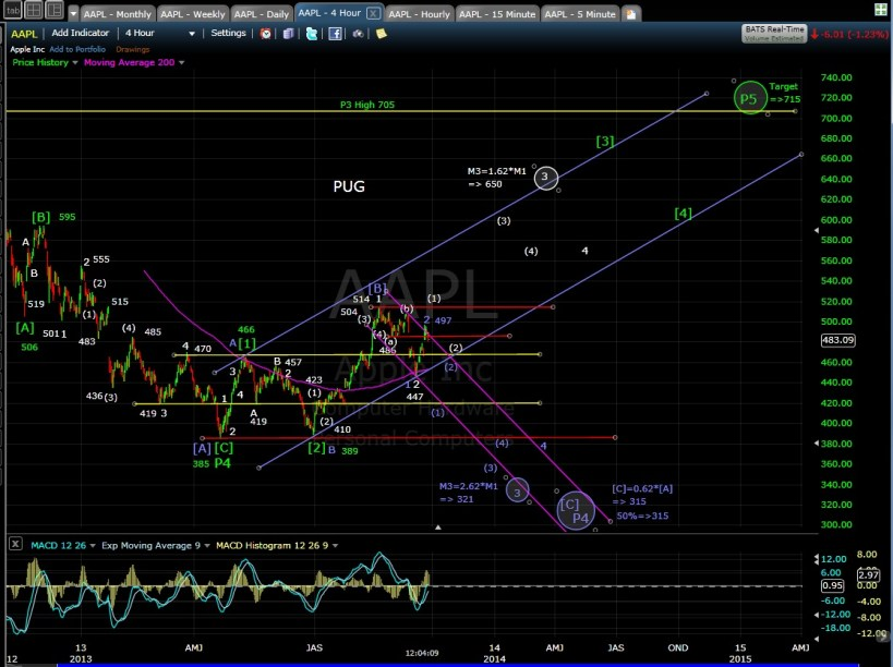 PUG AAPL 4-hr chart MD 9-25-13