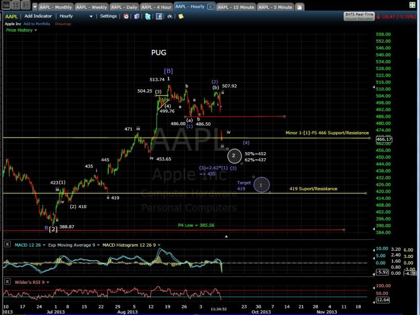 PUG AAPL 60-min chart MD 9-11-13