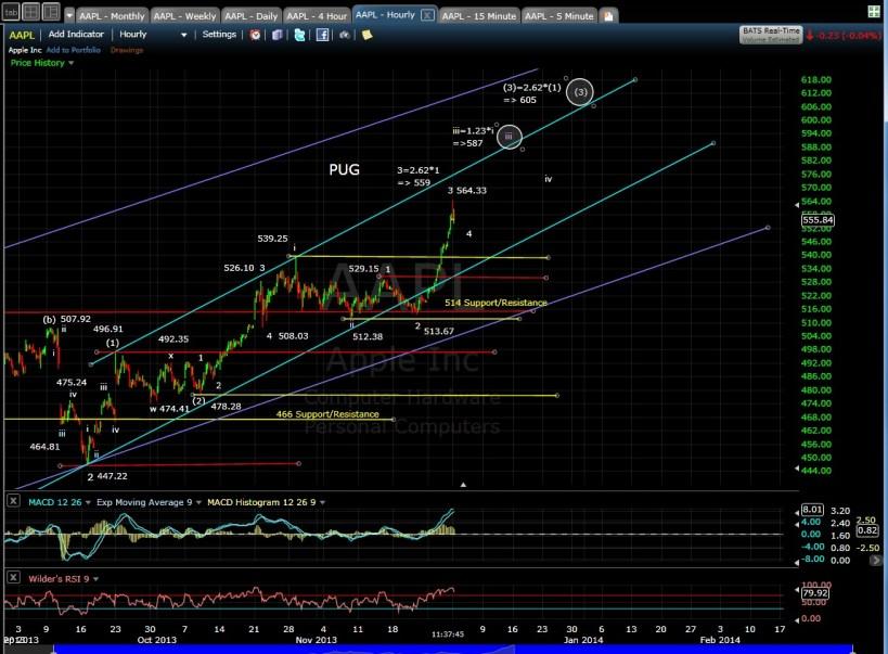 PUG AAPL 60-min chart 12-2-13