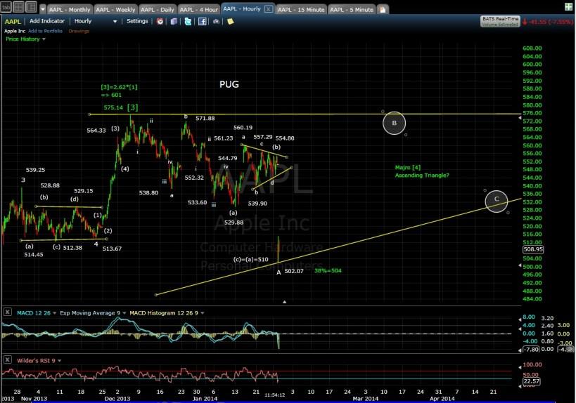 PUG AAPL 60-min chart MD 1-28-14